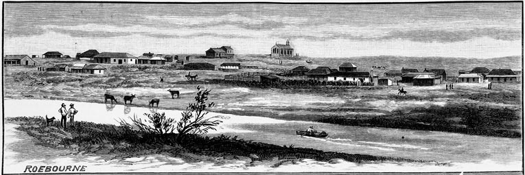 """View of Roebourne in April 1886 with the Harding River in the foreground. [51] Used with permission """"Newspaper Collection, State Library of Victoria"""""""