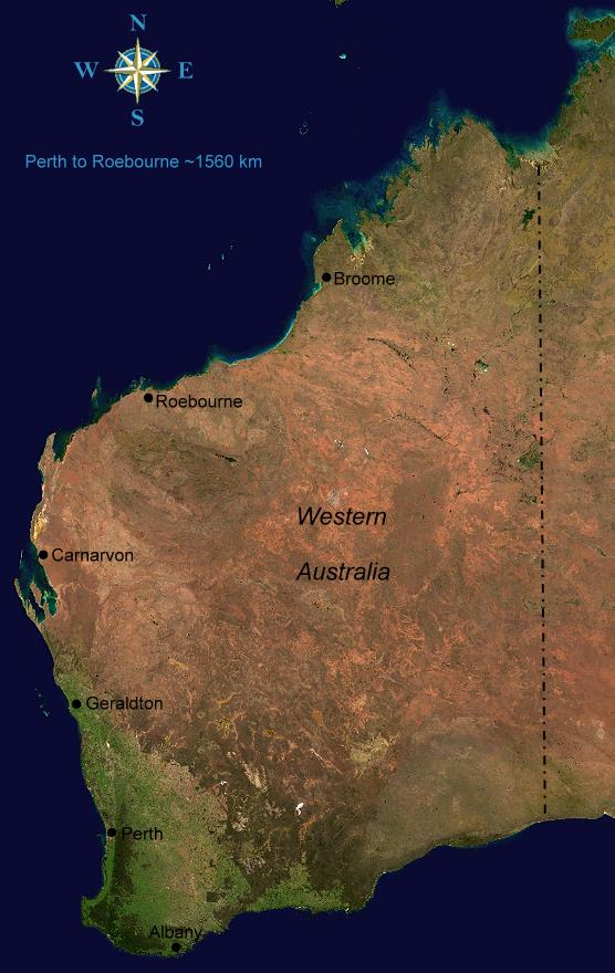 Map of Western Australia Map of Western Australia Satellite image courtesy of Wikimedia Commons