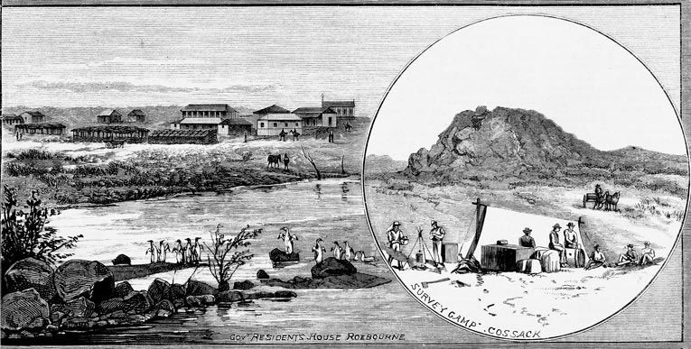 "View of the Government Resident's House in the Roebourne Township with the Harding River in the foreground [57] Used with permission ""Newspaper Collection, State Library of Victoria"""